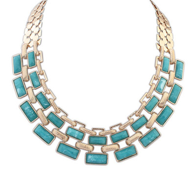 Mink green gemstone decorated square shape design alloy Bib Necklaces