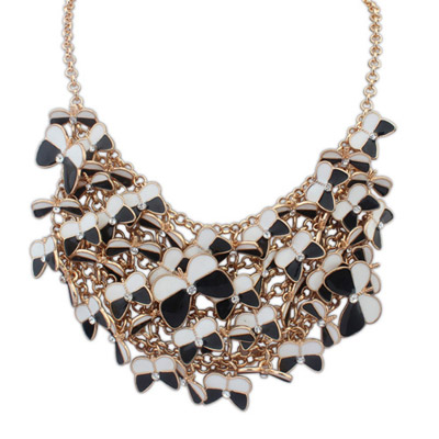Chiropract black & white diamond decorated butterfly shape design alloy Bib Necklaces