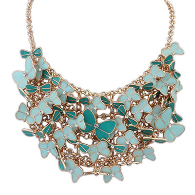 Highwaist green & light blue diamond decorated butterfly shape design alloy Bib Necklaces
