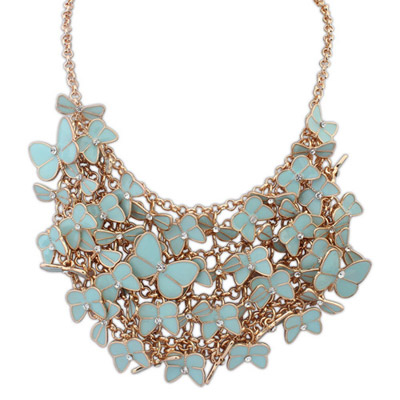 Collar light blue diamond decorated butterfly shape design alloy Bib Necklaces
