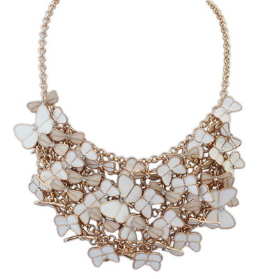 Kennedy white diamond decorated butterfly shape design alloy Bib Necklaces
