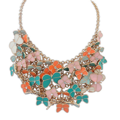 Madewell multicolor diamond decorated butterfly shape design alloy Bib Necklaces