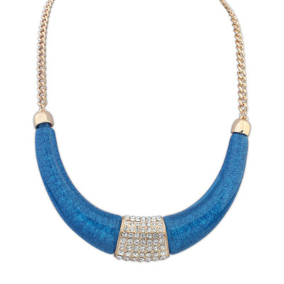 Winding dark blue diamond decorated crescent shape design alloy Bib Necklaces