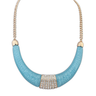 Avalon light blue diamond decorated crescent shape design alloy Bib Necklaces