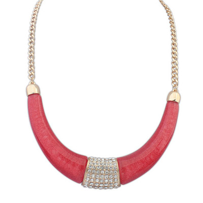Rolling red diamond decorated crescent shape design alloy Bib Necklaces
