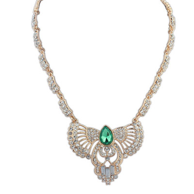 Sullen green diamond decorated hollow out fan shape design alloy Bib Necklaces
