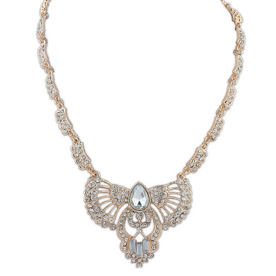 Faddish white diamond decorated hollow out fan shape design alloy Bib Necklaces