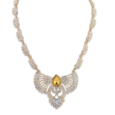 Embossed yellow diamond decorated hollow out fan shape design alloy Bib Necklaces