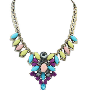 Dancing multicolor genstone decorated waterdrop shape design alloy Bib Necklaces