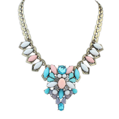 Hooters multicolor genstone decorated waterdrop shape design alloy Bib Necklaces