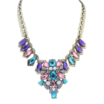Piercing multicolor genstone decorated waterdrop shape design alloy Bib Necklaces