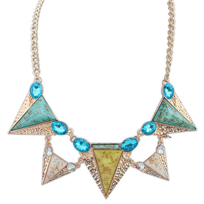 Gorgeous multicolor diamond decorated triangle shape design alloy Bib Necklaces