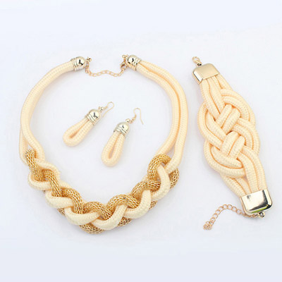 Sling light yellow matel decorated weave design alloy Jewelry Sets