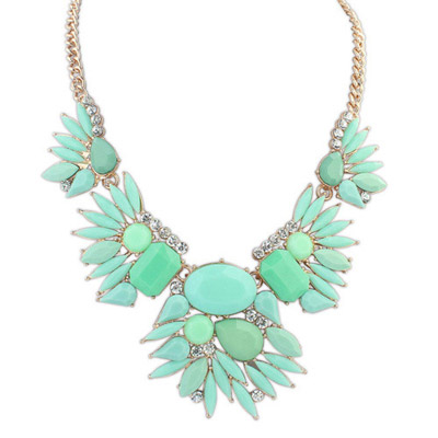Barbie Green Gemstone Decorated Simple Design Alloy Bib Necklaces