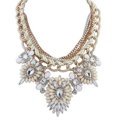 Cherokee Beige & White Diamond Decorated Multilayer Design Alloy Bib Necklaces