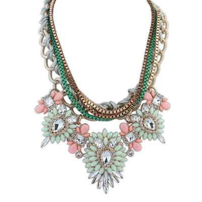 Masculine Light Green & Pink Diamond Decorated Multilayer Design Alloy Bib Necklaces