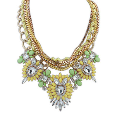Spiritual Yellow & Green Diamond Decorated Multilayer Design Alloy Bib Necklaces
