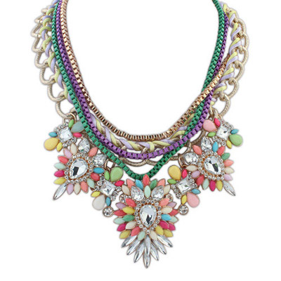 Personal Multicolor Diamond Decorated Multilayer Design Alloy Bib Necklaces