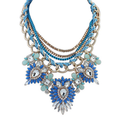 Cargo Blue & Light Blue Diamond Decorated Multilayer Design Alloy Bib Necklaces