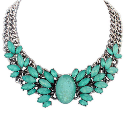 Rosary Green Gemstone Decorated Double Layer Design Alloy Bib Necklaces