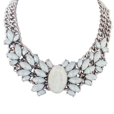 Graduated White Gemstone Decorated Double Layer Design Alloy Bib Necklaces