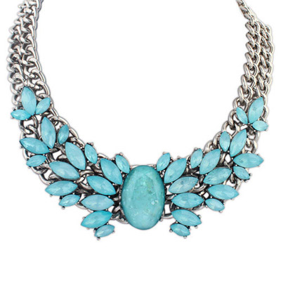 Cheap Blue Gemstone Decorated Double Layer Design Alloy Bib Necklaces