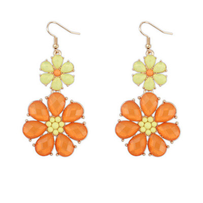 Jogging yellow & orange flower decorated simple design alloy Korean Earrings