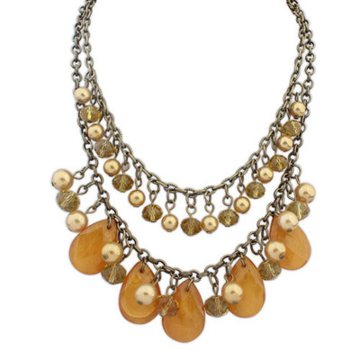 Slacks Yellow Smoke Pearl Decorated Waterdrop Shape Design Alloy Bib Necklaces