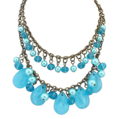 Blank Blue Pearl Decorated Waterdrop Shape Design Alloy Bib Necklaces