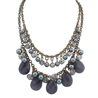 Aquamarine Gray Pearl Decorated Waterdrop Shape Design Alloy Bib Necklaces