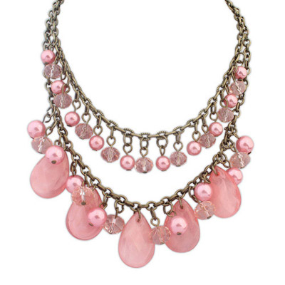 Sapphire Pink Pearl Decorated Waterdrop Shape Design Alloy Bib Necklaces