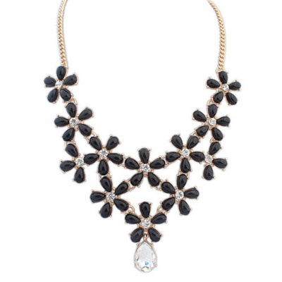 Venetian Black Diamond Decorated Flower Design Alloy Bib Necklaces