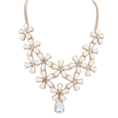 Girls Beige Diamond Decorated Flower Design Alloy Bib Necklaces