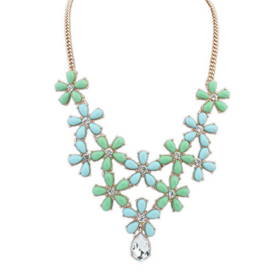 Quilted Blue & Green Diamond Decorated Flower Design Alloy Bib Necklaces