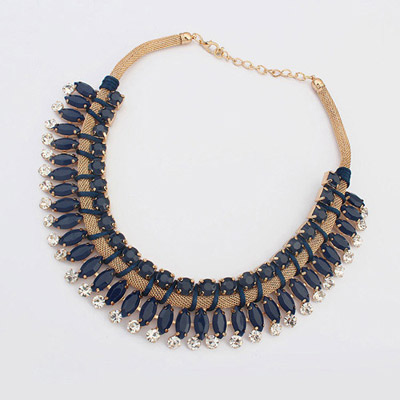 Bendable Blue Ink Diamond Decorated Simple Design Alloy Bib Necklaces