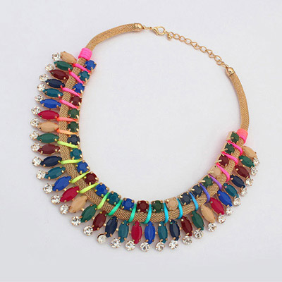 Floral Multicolor Diamond Decorated Simple Design Alloy Bib Necklaces