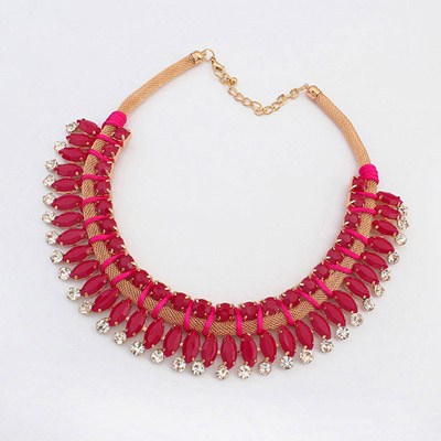Mechanical Red Diamond Decorated Simple Design Alloy Bib Necklaces