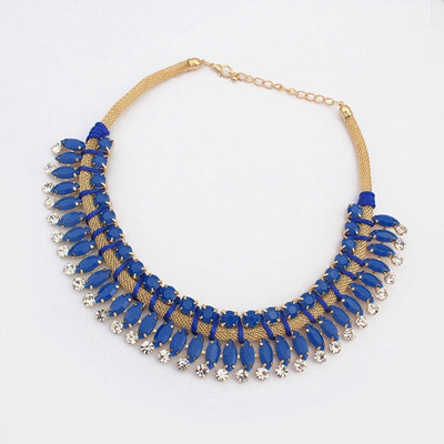 Fresh Blue Diamond Decorated Simple Design Alloy Bib Necklaces