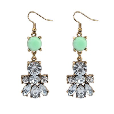 Micro Green Diamond Decorated Bee Shape Design Alloy Korean Earrings