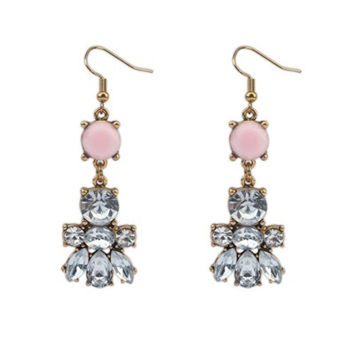 Tummy Pink Diamond Decorated Bee Shape Design Alloy Korean Earrings