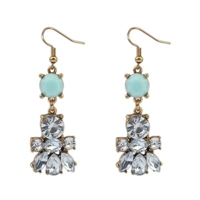 Circle Blue Diamond Decorated Bee Shape Design Alloy Korean Earrings