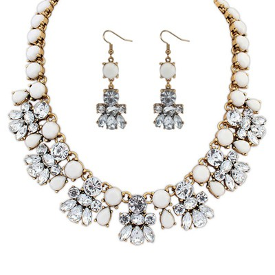Uniform White Diamond Decorated Bee Shape Design Alloy Jewelry Sets