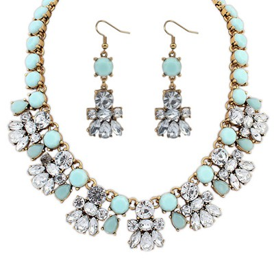 Western Blue Diamond Decorated Bee Shape Design Alloy Jewelry Sets