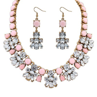 University Pink Diamond Decorated Bee Shape Design Alloy Jewelry Sets