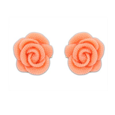Screw Watermelon Red Rose Decorated Simple Design Alloy Stud Earrings