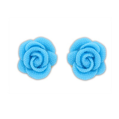 Healing Blue Rose Decorated Simple Design Alloy Stud Earrings