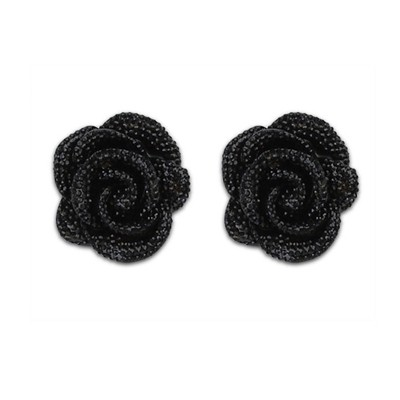 Shade Black Rose Decorated Simple Design Alloy Stud Earrings