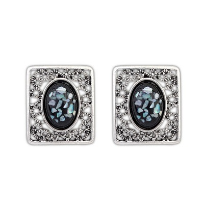 Jogging Black Gemstone Decorated Square Shape Design Alloy Stud Earrings