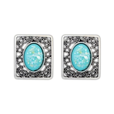 Customized Blue Gemstone Decorated Square Shape Design Alloy Stud Earrings