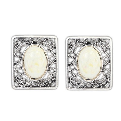 Toddler Beige Gemstone Decorated Square Shape Design Alloy Stud Earrings